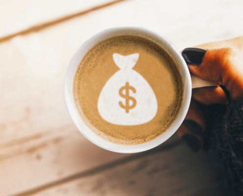 Coffee with bag of money logo in creama