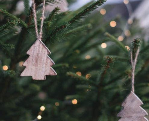Wooden Christmas tree decorations hanging on tree