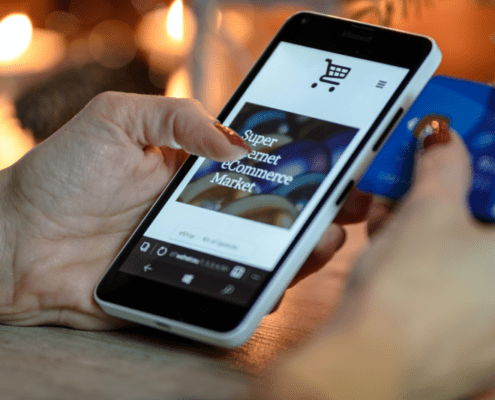 Smartphone with ecommerce on screen
